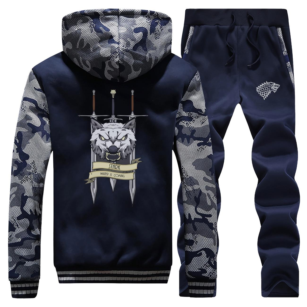 Funny Wolf Print Hoodies+Pants 2 Piece Sets Game Of Thrones Thick Hoodie Sweatshirt Fleece Warm Suit Streetwear Men Tracksuit