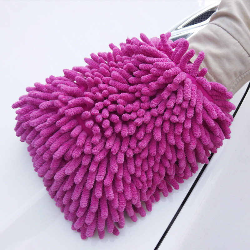 1 Pcs Double-sided Chenille Car Wash Gloves Absorb Water And Decontaminate Non-removable Coral Car Wash Tool