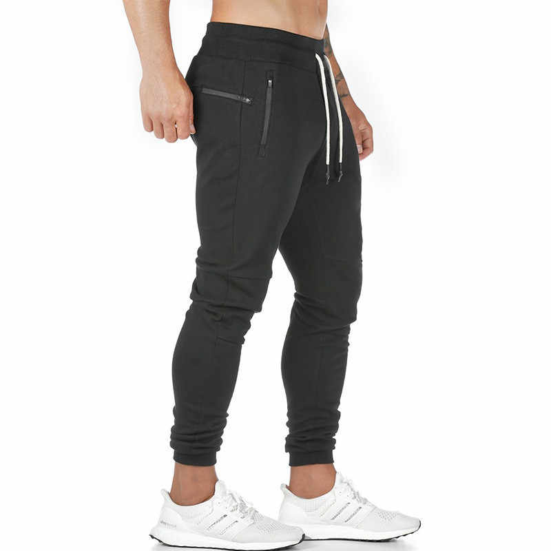 2019 New Jogging Pants Men's Zip Pocket Joggers Fitness GYM Training Pants Sportswear Sports Running Workout Athletic Sweatpants