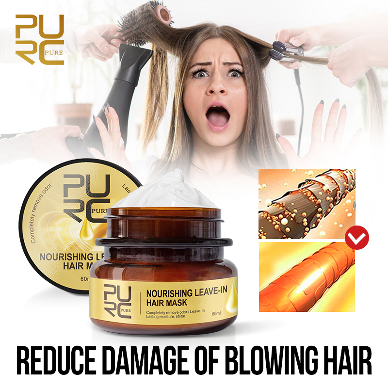 PURC Nourishing Leave-In Hair Mask Completely Remove Odor Lasting Moisture Shine Hair Treatment Repairs Frizzy Hair care 2