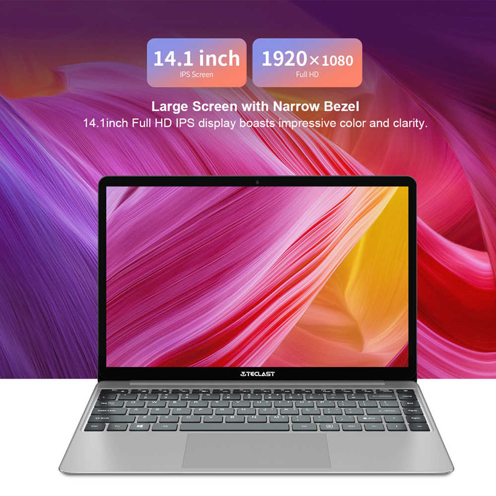Teclast F7 Plus Laptop Notebook 14 Cal Windows 10 1920x1080 Intel Gemini Lake N4100 czterordzeniowy 1.1 GHz 8 GB RAM 256 GB SSD