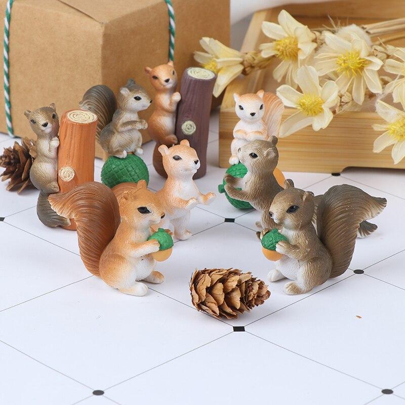 4 шт. фигурки белки сказочные миниатюрюры садовый гном, мох подарок изделия из смолы