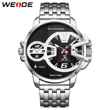 цены WEIDE Mens Sports Army Stainless Steel Belt Auto Date Quartz Movement Two Time Dials Analog Male Wrist Watches Relogio Masculino