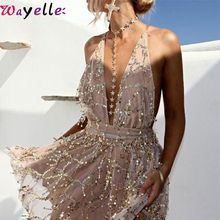 Women Party Dress Sexy V-neck Backless Tassel Sash Sequin Mini Dresses Halter Club Ladies