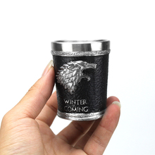 Игра трон рюмка бокал для вина дом Старк зима грядет голова Волка Кубок вина подарок на Рождество, Хэллоуин 60 мл