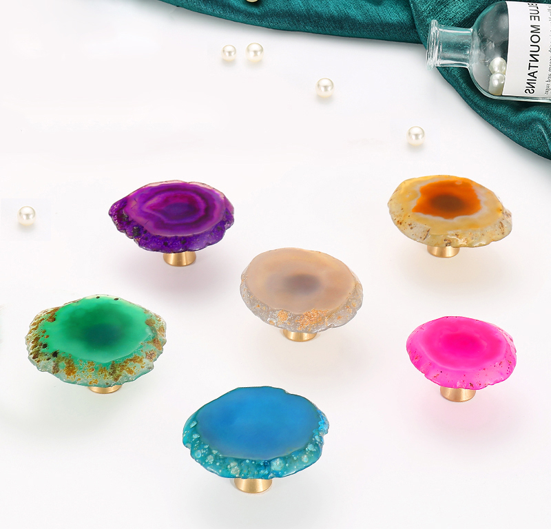 Colorful Natural Agate Knob Rough Stone Cutting Knob For Bedroom Drawer Pull Knobs Handle Cabinet Pulls Home Improvement - title=