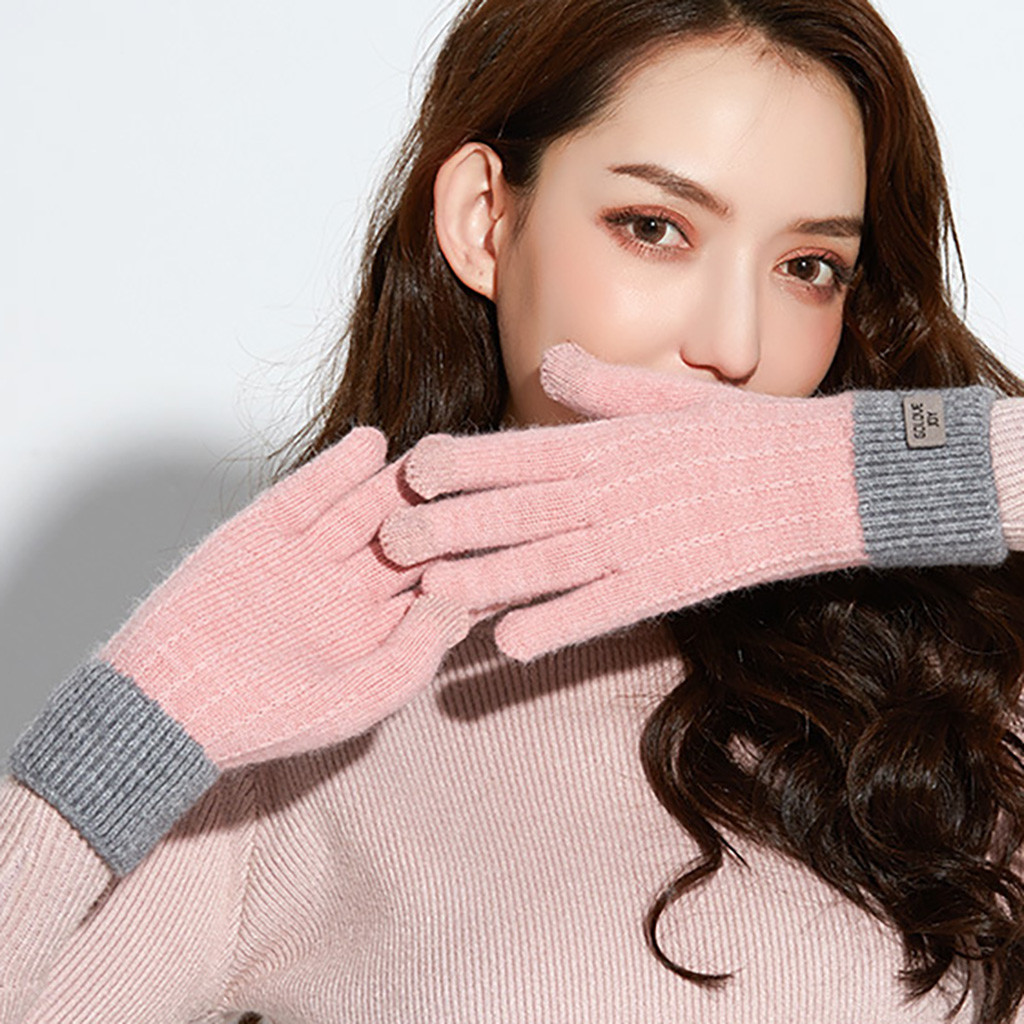 Women Cute Play Mobile Phone Warm Gloves Soft Cotton Winter Gloves