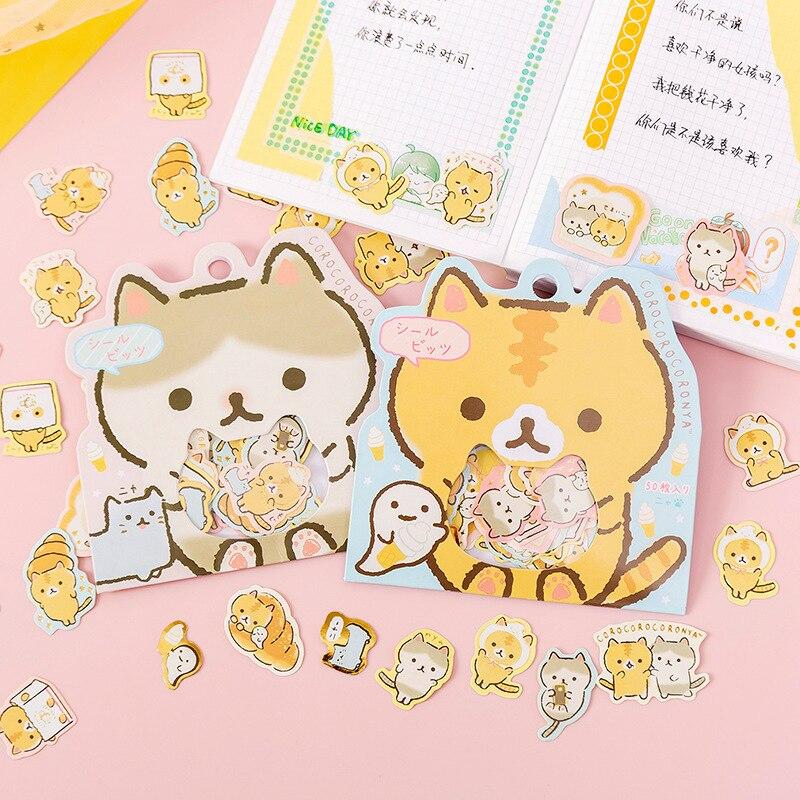 50 pcs Cute Bread Cat Decorative Kawaii Japanese Stationery Stickers Scrapbooking DIY Diary Album St