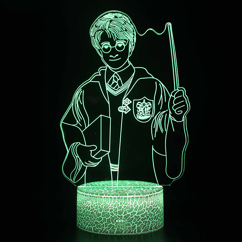 Wizarding School Movie Theme Decor Night Lights Gryffindor Hufflepuff Ravenclaw Slytherin Logo Model LED Lamp 3D illusion Light