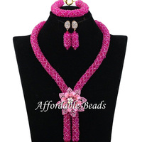 Bright Pink Crystal Nigerian Wedding Party Beads Statement Necklaces African Women Jewelry Sets Lace Jewellery Free Shipping CB3