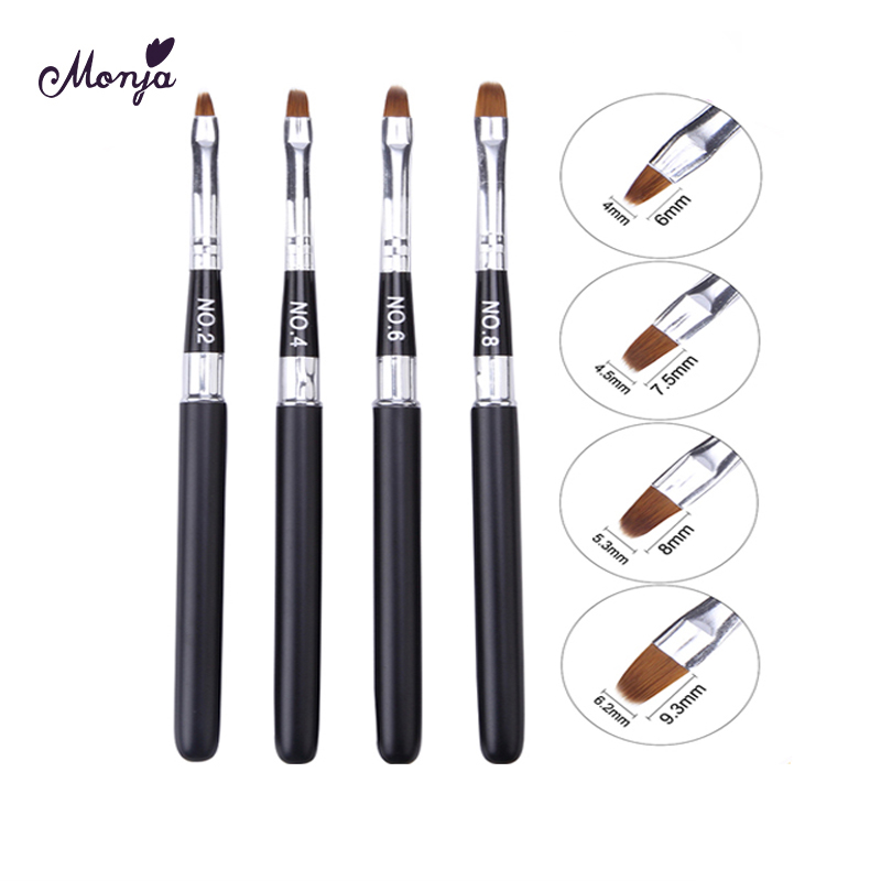 Monja No.2/4/6/8 Nail Art Detachable Acrylic Painting Brush Liquid Powder UV Gel Extension Builder Drawing Pen Manicure Tool