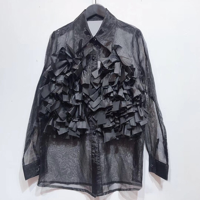 Chiffon Perspective Shirt Female Korean Style Wild Fashion Women Blouses and Tops Summer New 2020 Women Clothing F348 3