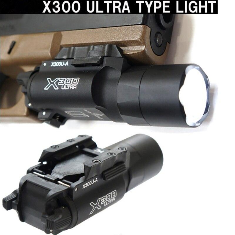 Tactique X300 Ultra pistolet lampe de poche X300U arme lumière Softair lanterne militaire tir chasse fusil pistolet lampe Glock lumière