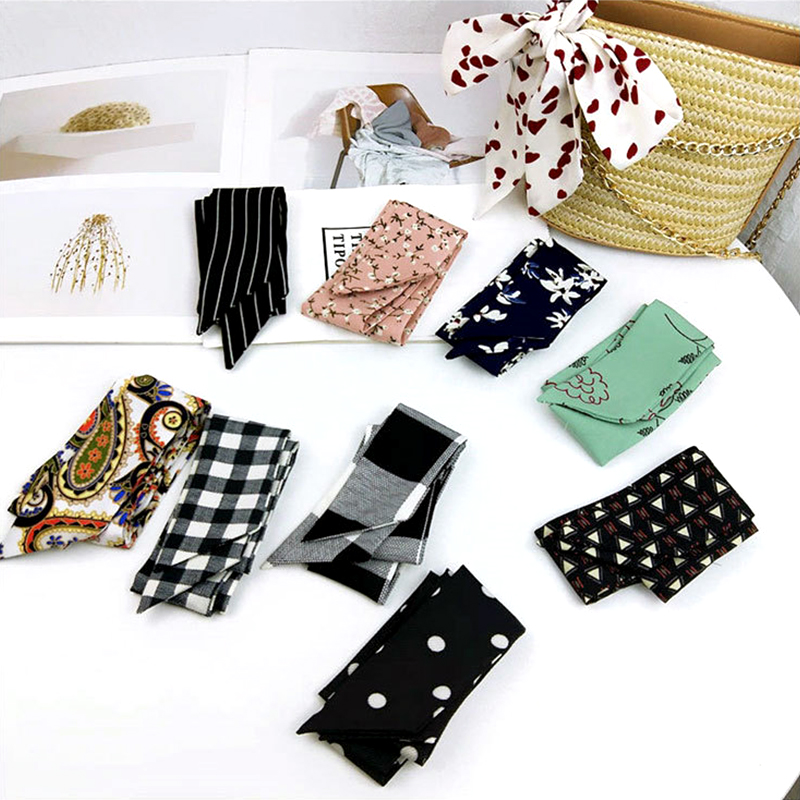 30colors New Style Small Slender Narrow Long Small Scarf Tied Bag Handle Scarves Small Ribbon Skinny Scarves Flowers Stars