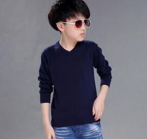 Image 5 - 2020 של האביב לילדים סוודרים מוצק סיבתי ארוך שרוול v צוואר סרוג דק סוודרים לבנים גדול ילדים חולצות