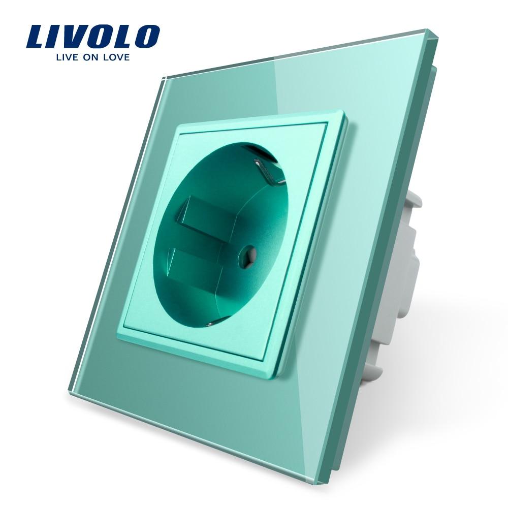 Livolo EU Standard Single Israel Power Socket,Crystal Glass Panel,16A Wall Power Socket,standard Power Outlet,Swizss,FR,EU Plugs