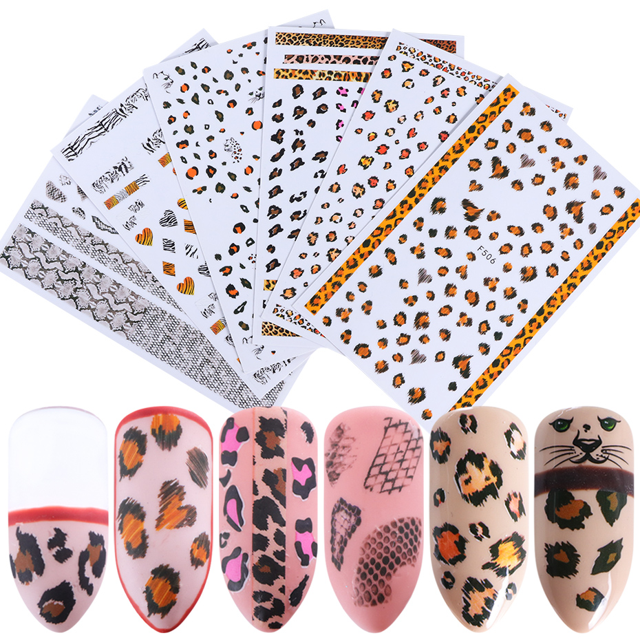 1pcs 3D Nail Art Adhesive Slider Stickers Leopard Snake Print Designs Nail Full Wraps Decals Manicure Decoration Tips TRF505-510