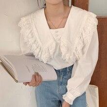 Vintage Sailor cuello botones volantes costura Mujer Camisas Blusas Otoño Invierno señoras jerseys manga larga Mujer Camisas