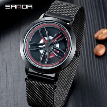 SANDA Rotate dial Men's Watches Top Brand Luxury Rose Gold Mesh Watch Men Fashion Business Wrist watches Relogio Masculino P1009