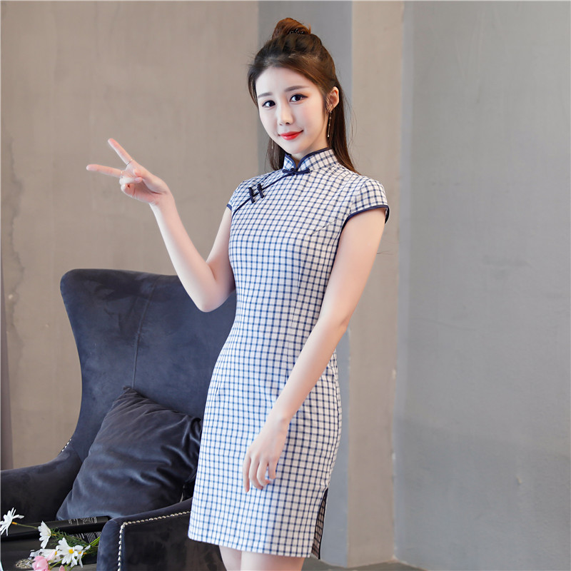 New Style Cotton Linen Cheongsam Fashion Plaid Dress Elasticity Cheongsam Short Cotton Linen Improved Cheongsam