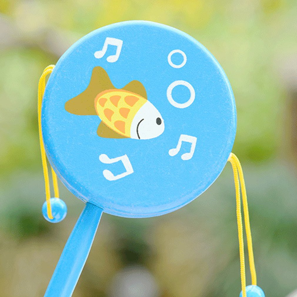 1pc Chinese Traditional Wooden Rattle Drum Spin Toys For Baby Kids Cartoon Smile Musical Hand Bell Baby Musical Instrument Toy