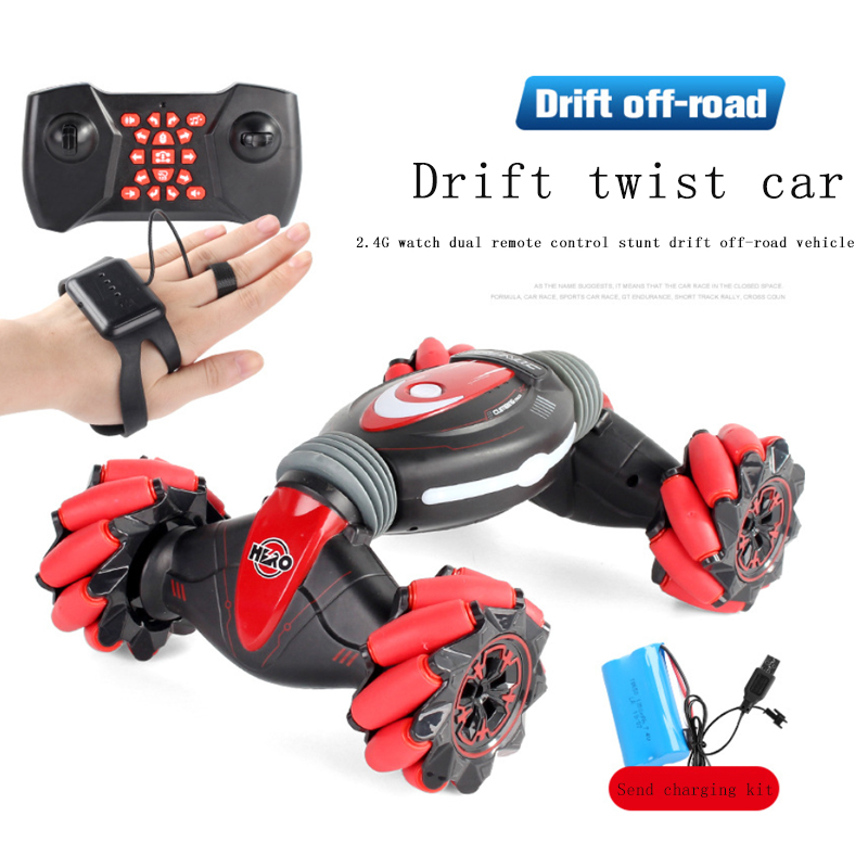 Remote Control Stunt Car Gesture Induction Twisting Off-Road Vehicle Light Music Drift Dancing Side Driving RC Toy Gift For Kind