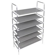 Rack Iron-Shoe-Rack Shoe-Cabinet Six-Tier-Shoe-Shelf Home-Organizer Metal Household