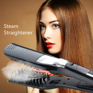 Image 1 - LCD Hair Steam Straightener Electric Brush Hair Hair Flat Iron Vapor Plate Led Ferro Dry & Wet Hair Iron Steampod Styling Tool