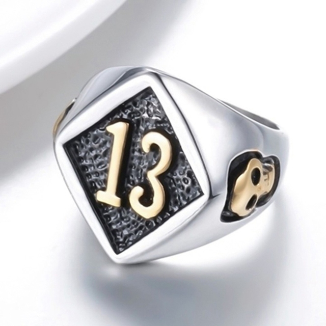 Size 7-13 Motor Biker Lucky Number 13 Ring Stainless Steel Men Boys Cool Man Biker Skull Ring