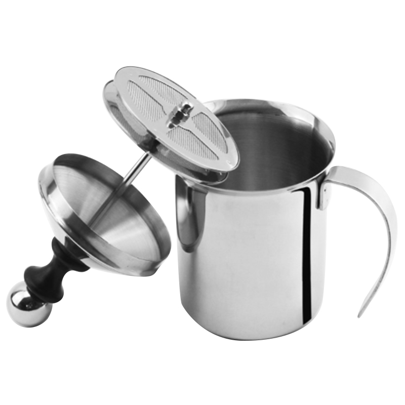 800ML Manual Milk Frother Stainless Steel Double Mesh Milk Creamer Coffee Mixer Milk Foamer Mesh Coffee Foamer Creamer Coffee Cu