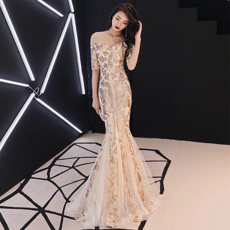Fashion Gold Sequins Long Evening Dress Womens Lace Dresses Party Gown Girl Chinese Style Oriental Wedding Gowns Qipao Cheongsam