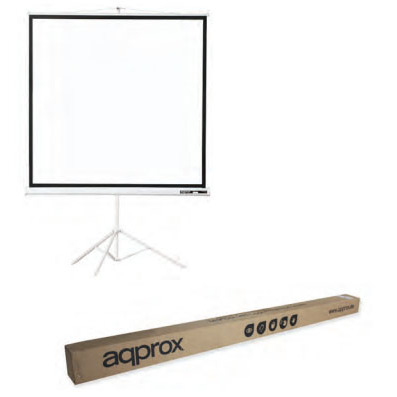 Screen With Tripod Approx (100) 180x180 To Projector, Matt AND Back White Fabric Black Dull
