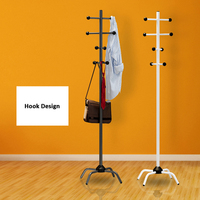 Coat Rack Hat Hanger Hallstand Clothes Hat Tree Rack Free Standing with 8 Movable Hooks 4 Feet Base for Kitchen Bathroom Bedroom