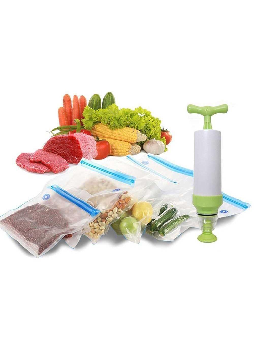 Reusable Food Vacuum Sealed Bag Handheld Sealing Packaging Machine Kitchen Ziplock Packaging Eco Friendly Storage,Without pump