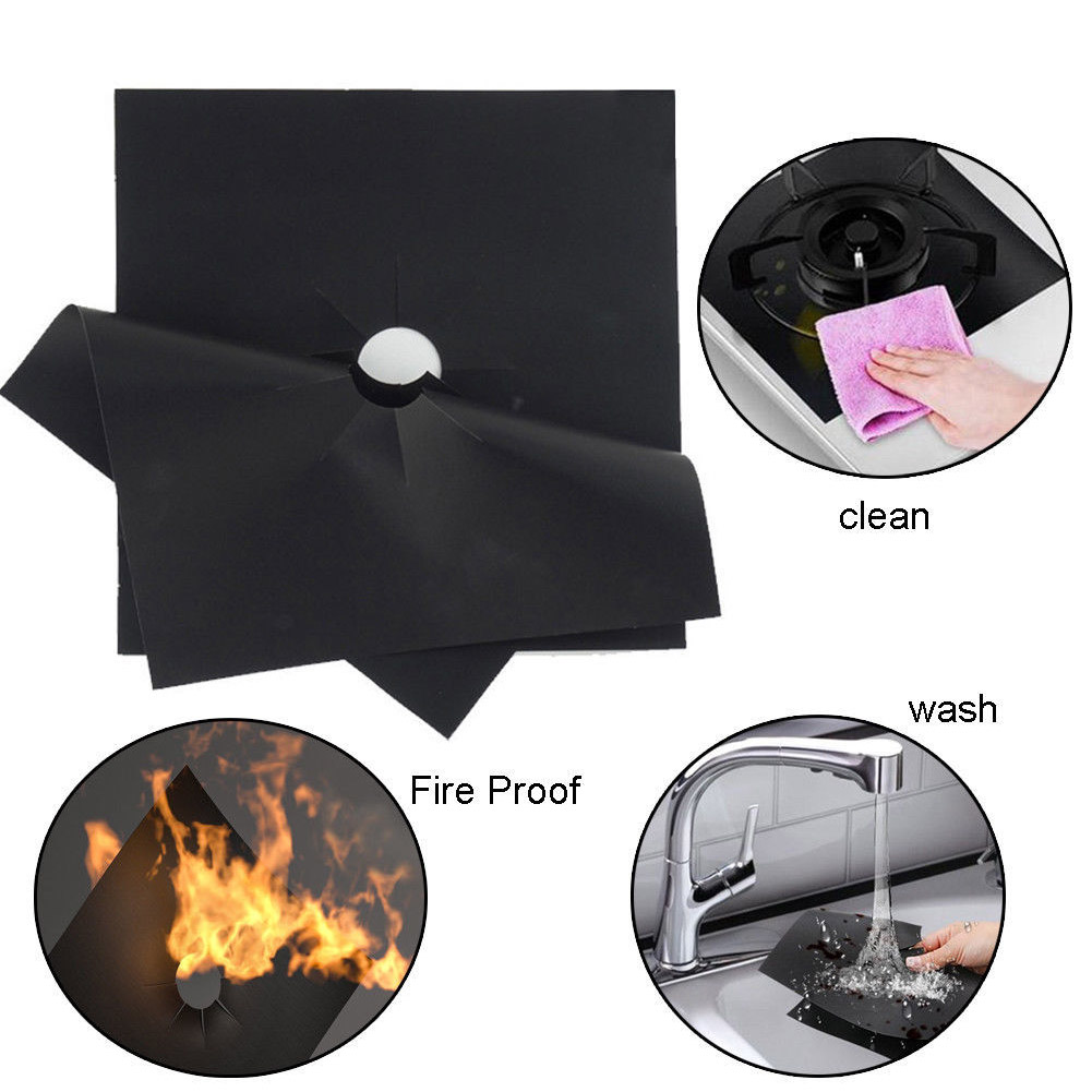 4PCS per Set Reusable and Non Stick Stove Cover Made with Glass Fiber to Protect Gas Stove 3