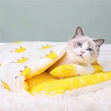 Casa do gato do gato do cão da cama do gato do cão removível dormir saco sofás esteira do inverno quente do gato pequeno animal de estimação cama do filhote de cachorro canil ninho almofada produtos para animais de estimação