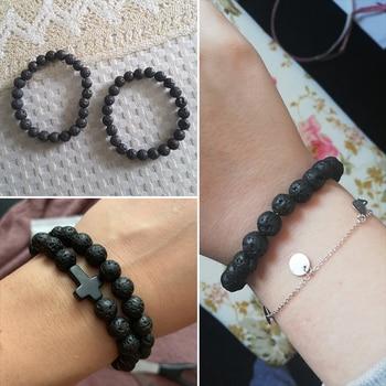 6mm 8mm 10mm Natural Volcanic Stone Beads Bracelets Black Lava Men Bracelet Aromatherapy Essential Oil Diffuser Bangle for Women 3