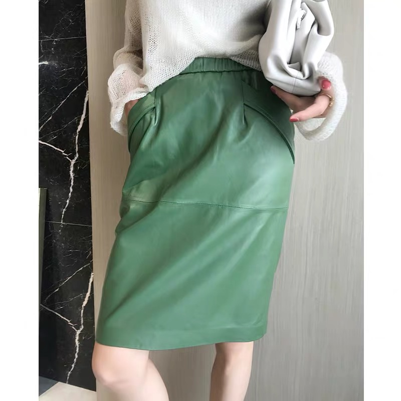 Leather Skirt Women With Pockets Midi Skirts Womens 2019 Genuine Black And Green Sheepskin Leather Pencil Skirt High Waist
