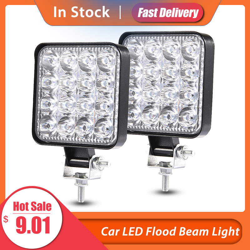 2PCS/Set 48w 27W 18W Car LED Flood Beam Lights Square Off-road Bulb Lamp Fog Lighting Exterior For Jeep SUV Truck ATV