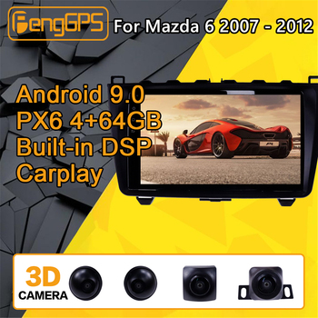 For Mazda 6 Android Radio Car multimedia Player 2007 - 2012 Stereo PX6 Audio GPS Navi Head unit Autoradio No 2din 2 DIN camera image