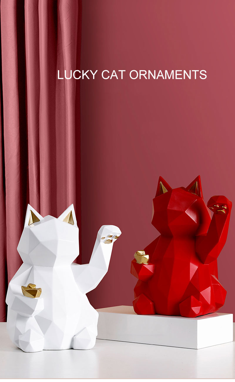 Geometric Lucky Cats Statue Figurine Fortune Charm