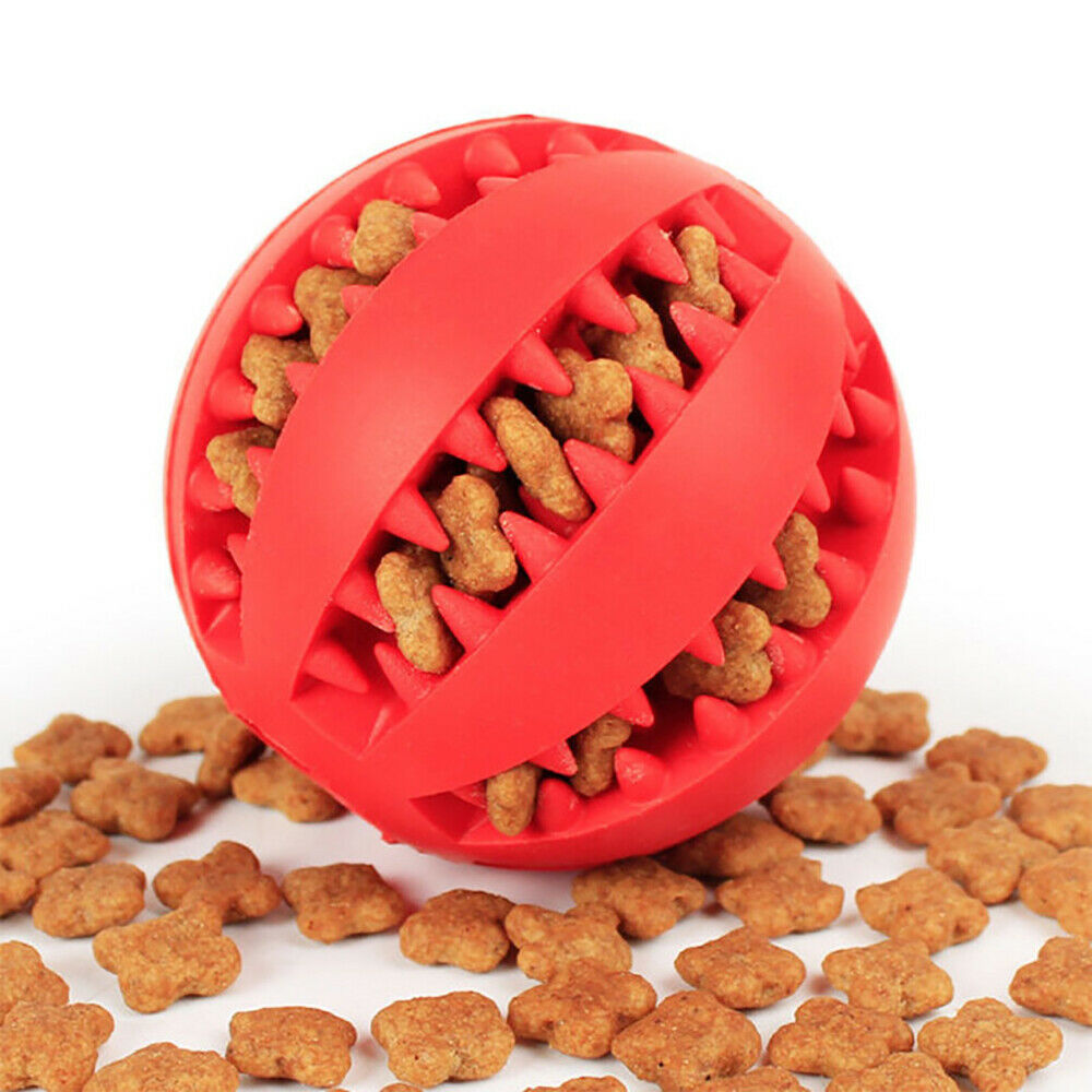 New Hard Rubber Dog Toys for Pet Dog Cat Treat Training Chew Sound Food Dispenser Toy Healthy Teeth Cleaning Bite Ball Toys in Dog Toys from Home Garden