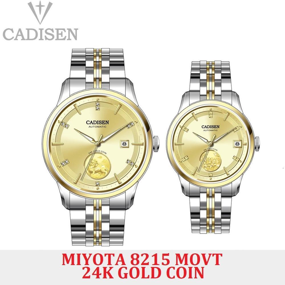 CADISEN Lovers Watch Automatic Mechanical Men WristWatch MIYOTA 8215 Movt Sapphire Glass Men's Watches Date 24K Gold Coin Clock