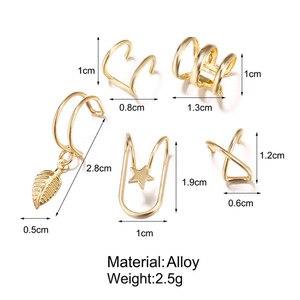 12 шт./компл. модные золотые для ушей манжеты лист клип серьги для женщин, головные уборы без Имитация пирсинга из нержавеющей стали, серьги аксессуары подарок