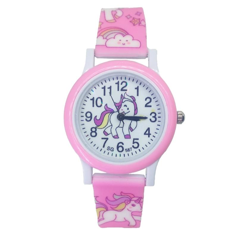 Children Fashion Cute Unicorn Cartoon Girls Boys Child Pony Clock Student Sport Kids Watch Baby Watch Baby Birthday Party Gifts