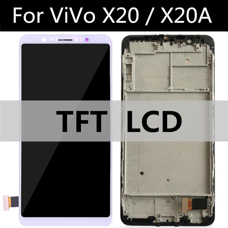 Para vivo x20 x20a display lcd + digitador da tela de toque lente vidro assembléia substituição para o telefone x20 a tela lcd