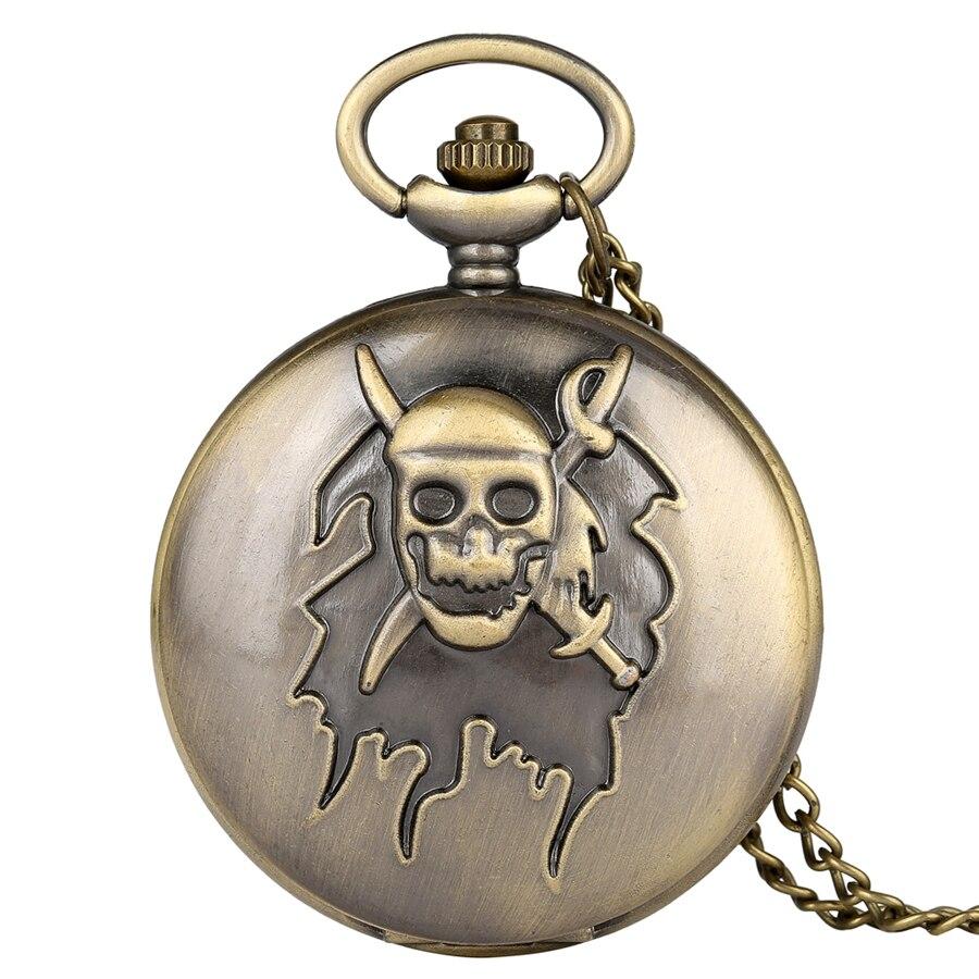 Retro Bronze Pirate Skull Cross Sword Quartz Pocket Watch Necklace Pendant FOB Chain Clock Gifts For Men Women Reloj De Madera