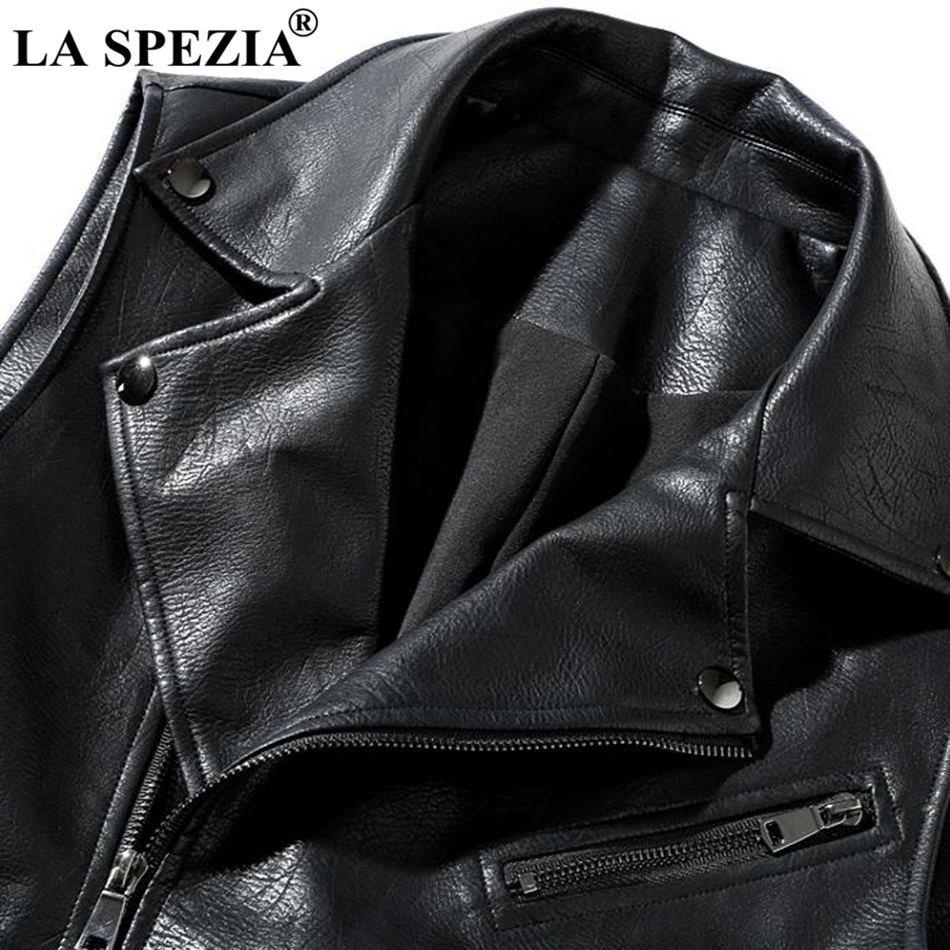 LA SPEZIA Black Vest Men Biker Slim Fit Sleeveless Jacket Male Hip Hop Zipper Motorcycle Punk Faux Leather Rock Stage Waistcoat