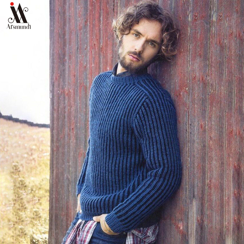 Men Autumn Casual Knitted Soft Cotton Sweaters Pullover Men 2019 Winter New Fashion Striped O-Neck Sweater Coat Men 3XL