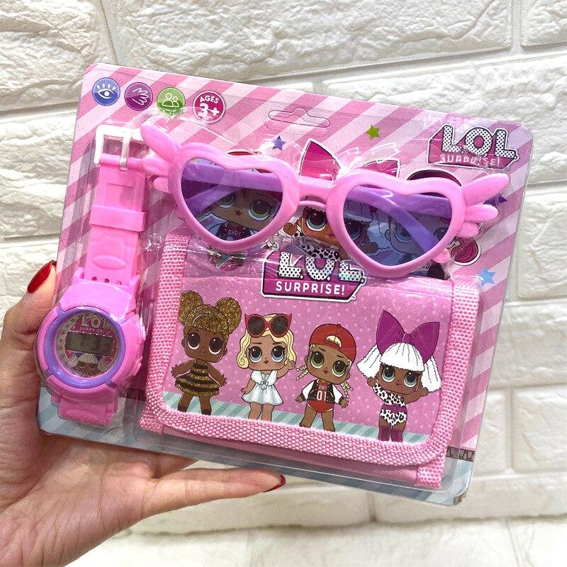 Lol surpresa bonecas menina relógio óculos carteira 3in1 material escolar anime figura dos desenhos animados crianças aniversário presente de natal